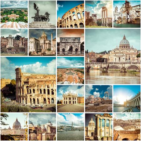 로마에서의 사진 콜라주. 이탈리아