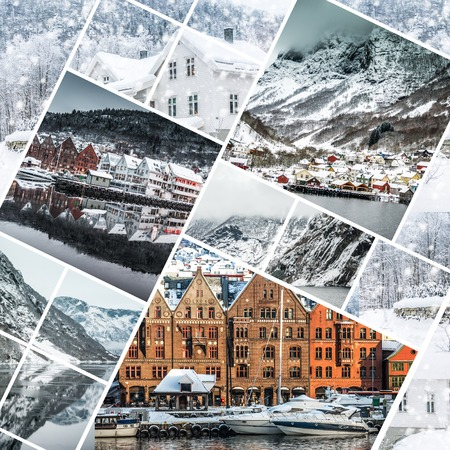 Collage of photos from Bergen, Norwegia photo