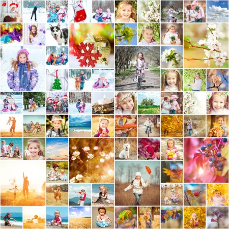 collage of family photos in the four seasons 写真素材