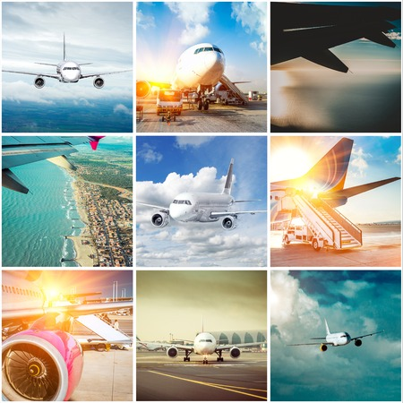 travel collage: collage of planes photos on the ground  and in the sky Stock Photo