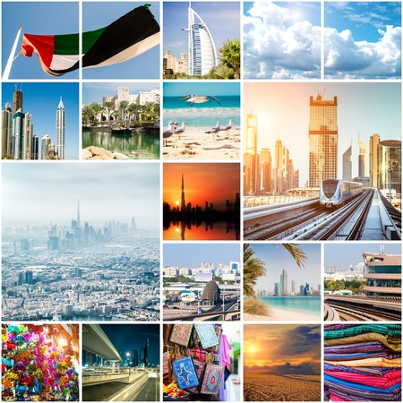 travel collage: Collage of photos from Dubai. UAE Stock Photo
