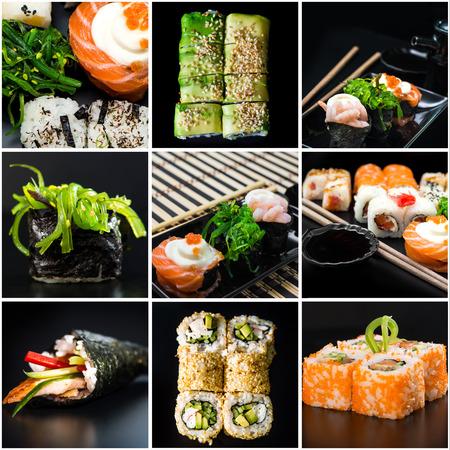 sushi set: photo collage  of sushi  set Stock Photo