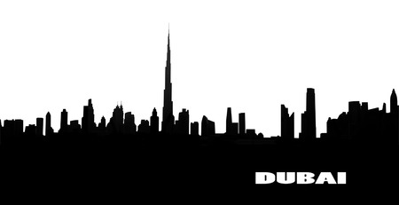 tall buildings: silhouette of the city  Dubai, UAE