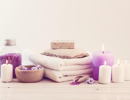 salon spa: Composition of spa treatment on the white wooden table Stock Photo