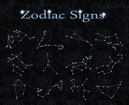abstract aquarius: zodiac signs on the black background of the sky