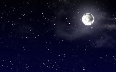 星と満月の夜空 写真素材