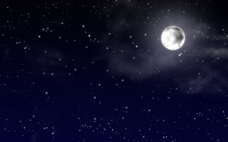 nebulous: Night sky with stars and full moon Stock Photo