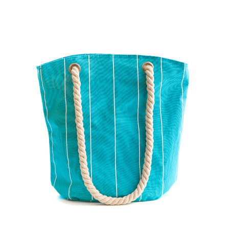 Blue beach bag isolated on white