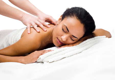 nude black woman: perfect  women with closed eyes receiving massage in a spa center Stock Photo