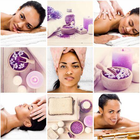 bathsalt: Collage of photos girl in spa salon enjoys massage