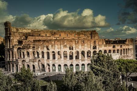 emporium: Colosseum in Rome at sunset, Italy Stock Photo