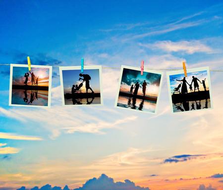 season photos: photo collage silhouettes family on the beach Stock Photo