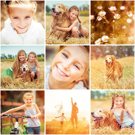 papalote: Collage de la foto de familia con el perro descansando en el campo y volar una cometa Foto de archivo