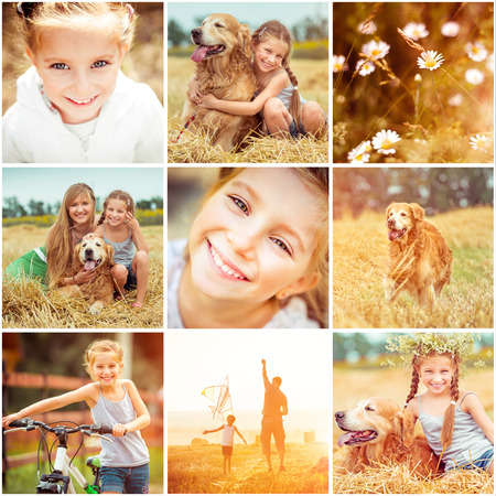 kite flying: photo collage of family with  dog resting in the field and flying a kite