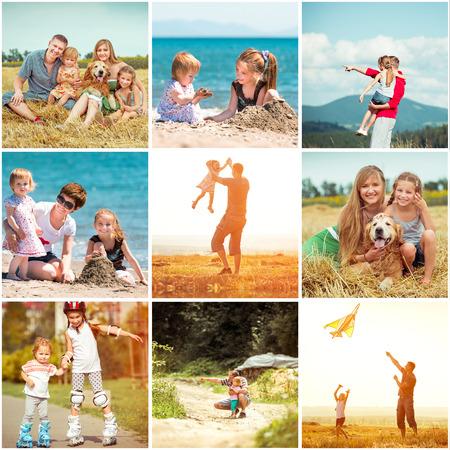 休暇の家族の写真のコラージュ