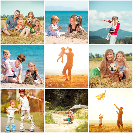 photo collage of family on vacation Standard-Bild