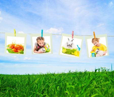 clothes pin: Clothes pin holding Easter photos outdoors