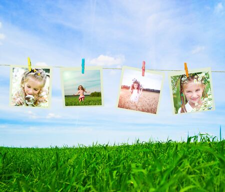 photo collage of a little girl in a wreath of flowers photo