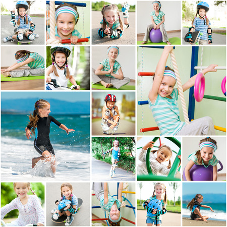 leisure activities: Photo collage of a little girl playing sports in the gym and on the street