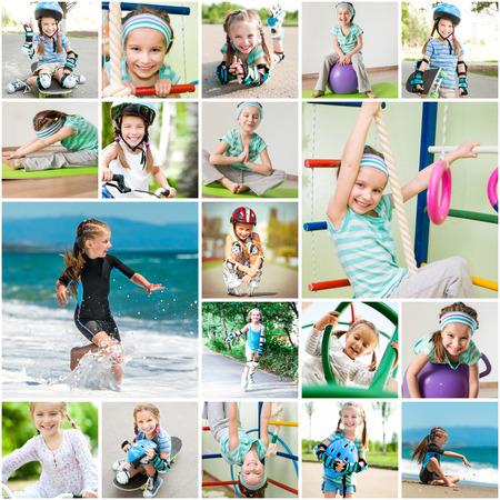 Foto collage di una bambina fare sport in palestra e per la strada