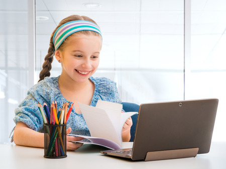 little girl and her magic tablet