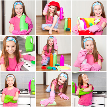 photo collage of little girl makes cleaning the kitchen detergents photo