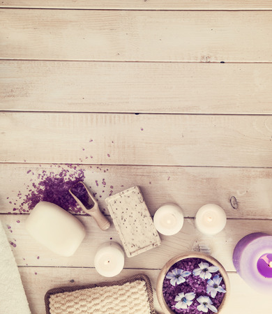 Composition of spa treatment on the white wooden table 写真素材
