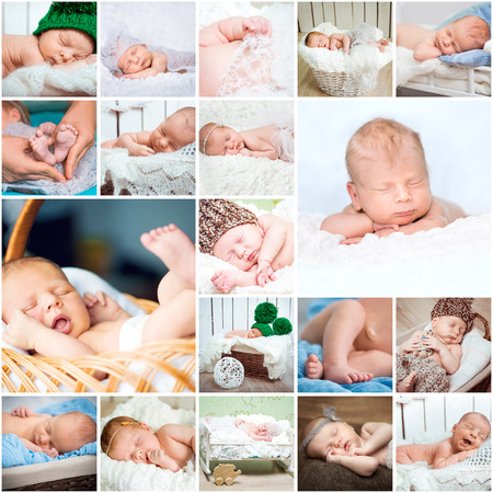 0 6 months: Collage of photos of sleeping babies in a variety of interesting positions