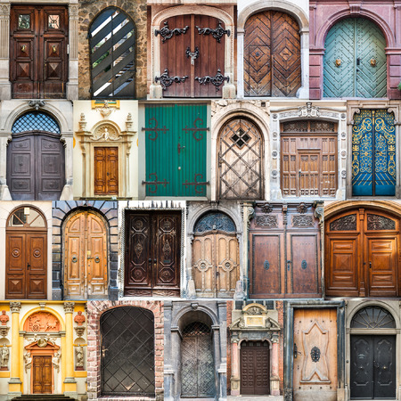 ancient brick wall: photos of doors on the old districts of Europe Stock Photo