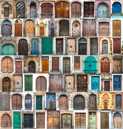 photos of doors on the old districts of Europe photo