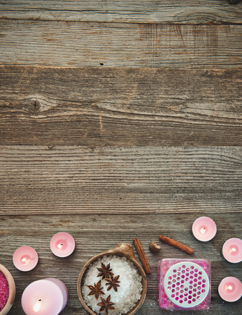 organic products: Composition of spa treatment on the wooden table Stock Photo