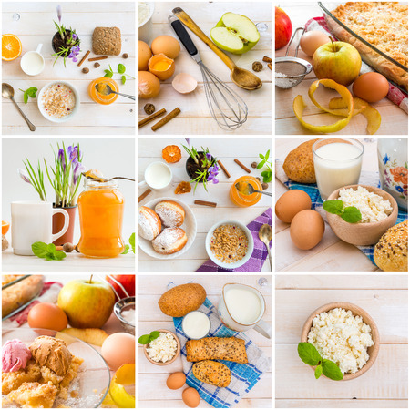 collage of photos breakfasts on white wooden background photo