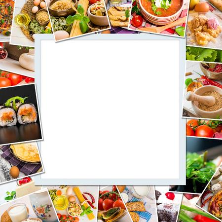 Frame photos of food on white photo