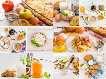 health collage: Photo collage of food  on a wooden table Stock Photo