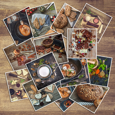 coffee jelly: retro food photos on a wooden background Stock Photo