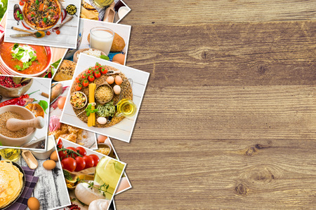 background of the food photos on a wooden  background photo