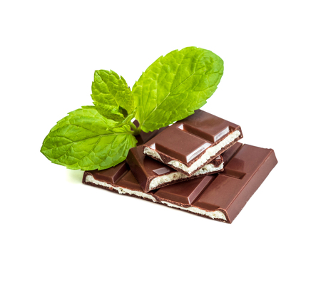 milk chocolate with mint filling isolated on a white background Stock Photo