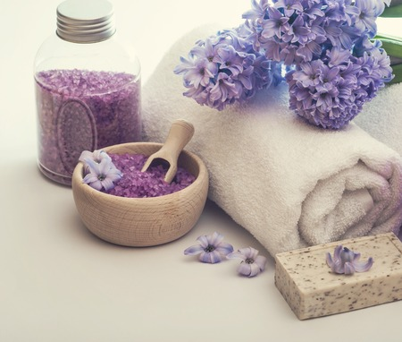 beauty product: Composition of spa treatment on the white wooden table Stock Photo