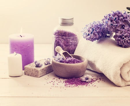 spa bath: Composition of spa treatment on the white wooden table Stock Photo