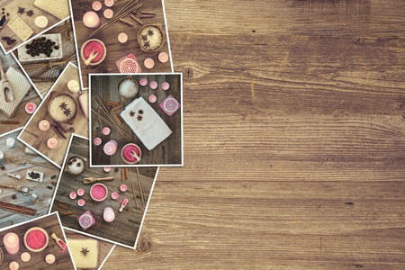 collage: a background with pictures of bath accessories on a wooden board