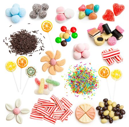 candy: Collage of colorful assorted candy isolated on white background Stock Photo