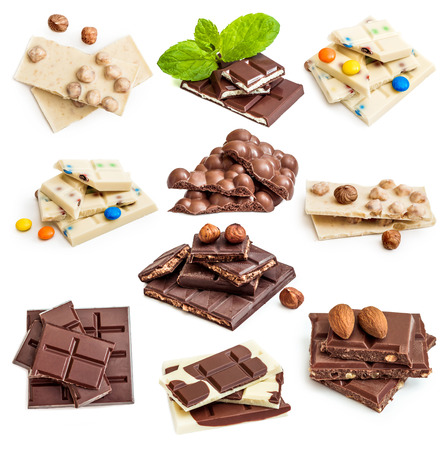 chocolate mint: Photo collage of chocolate bars isolated on a white background