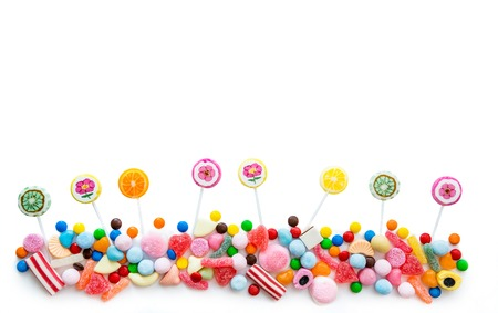 multiplicity: Arrangement of a variety of sweets on a white background