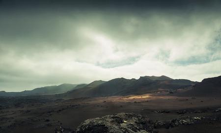 vulkaan en lava woestijn. Lanzarote, Canarische eilanden Stockfoto