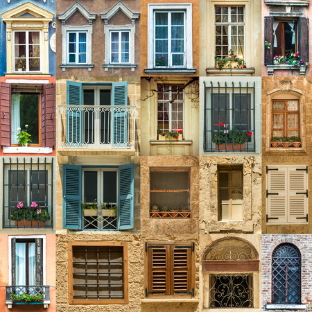 old building facade: collage with antique windows in Europe