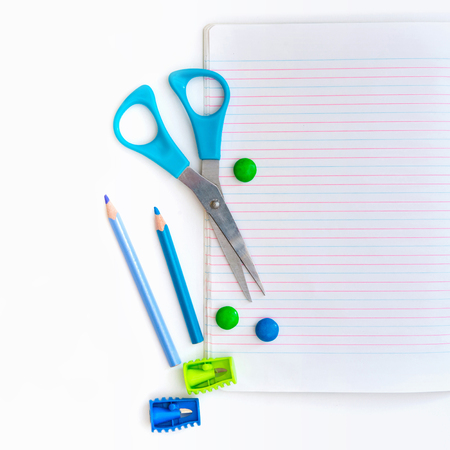Group of school objects on a white background isolation photo