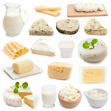 products: collage collection dairy products on a white background