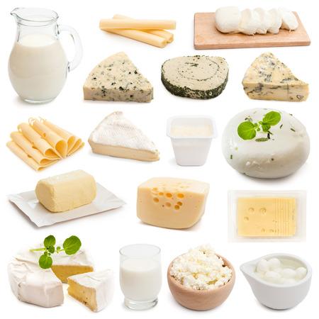 lacteos: productos l�cteos colecci�n collage sobre un fondo blanco Foto de archivo