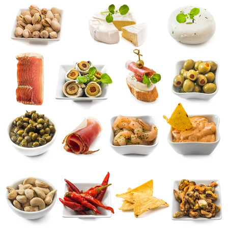 photo collage of spanish tapas  isolated on white 写真素材