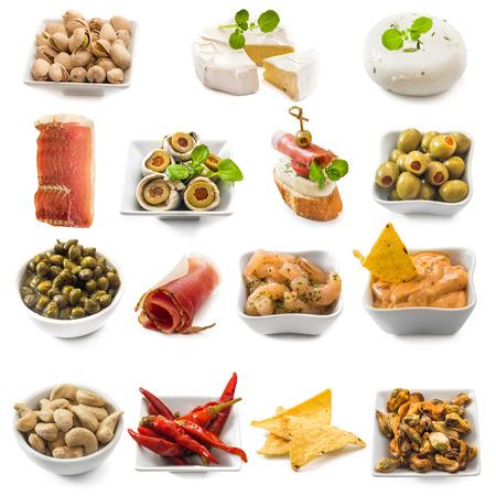 photo collage of spanish tapas  isolated on white Stockfoto